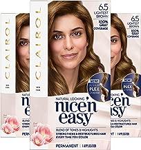 Clairol Nice'n Easy Permanent Hair Color, 6.5 Lightest Brown, Pack of 3