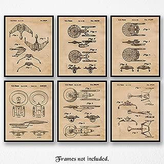 Original Star Trek Patent Poster Prints, Set of 6 (8x10) Unframed Photos, Wall Art Decor Gifts Under 20 for Home, Office, Garage, Man Cave, Shop, College Student, Teacher, Comic-Con & Movies Fan