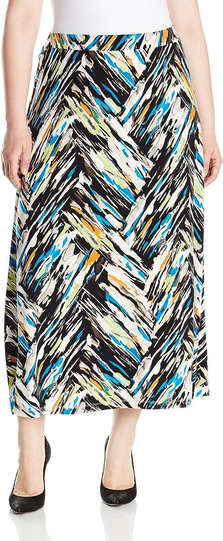 Kasper Womens Plus Size a Line Chevron Print Ity Maxi Skirt Skirt