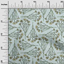 oneOone Cotton Cambric Mint Green Fabric Leaves & Flowers Floral Fabric for Sewing Printed Craft Fabric by The Yard 42 Inc...