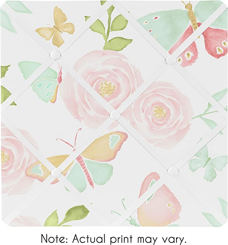 Sweet Jojo Designs Blush Pink Mint And White Watercolor Rose Fabric Memory Memo Photo Bulletin Board For Butterfly Floral Collection