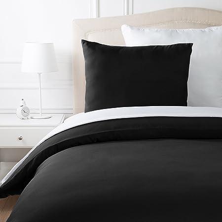 AmazonBasics Parure de lit en microfibre, noir, 140 cm x 200 cm/65 cm x 65 cm x 1