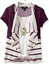Amy Byer Girls' Big 2fer Stripe Cozy with Necklace