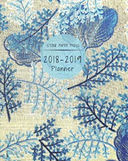 Stone Paper Press 2018-2019 Planner: Weekly and Monthly Organizer/Calendar Sept 2018 – Dec 2019 Tapestry Blue