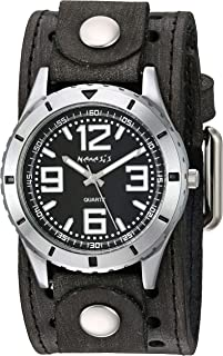 Nemesis ' Sporty Racing' Quartz Stainless Steel and Leather Casual Watch, Color:Black (Model: VSTH096K
