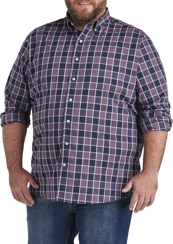 Oak Hill by DXL Big and Tall Check Sport Shirt, Elderberry Heather
