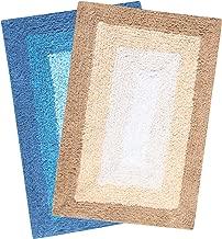 Saral Home Soft Cotton Anti Slip Bathmat Set of 2Pcs -40x60 cm (Turq-Beige)
