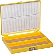 "Heathrow Scientific HD15994D Yellow Cork Lined 100 Place Microscope Slide Box, 8.25"" Length x 7"" Width x 1.3"" Height"