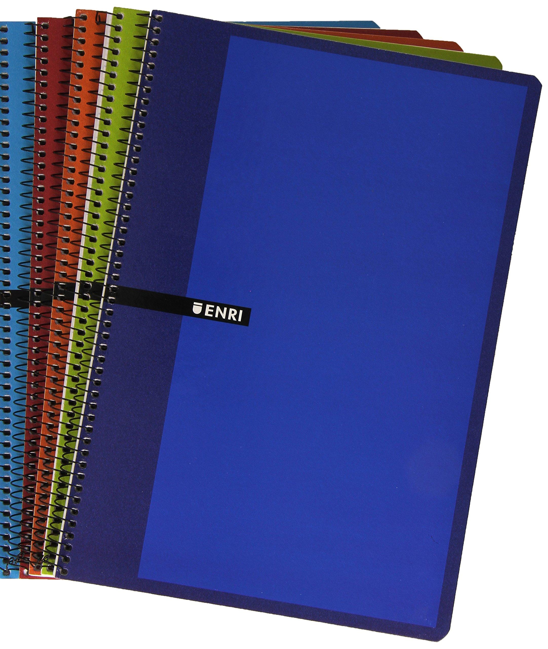 Enri 101085304 - Pack de 5 cuadernos con espiral simple, Pauta 3, tapas duras, colores surtidos: Amazon.es: Oficina y papelería