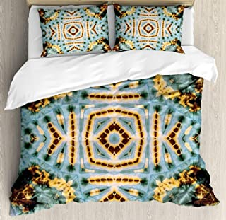 VCFUN Family Comfort Bed Sheet Hippie Close Hippie Kaleidoscope Motif Maya Clan Figures Dirt Tones Counter Culture Yellow Blue, 4 Piece Bedding Sets Duvet Cover Oversized Bedspread, King Size
