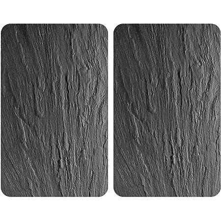 WENKO XL Plaque de cuisson universelle ardoise - lot de 2, plaque de cuisson et planche à découper en verre pour tous types de cuisinières, verre trempé, 40 x 52 cm, Noir (Noir Brillant)