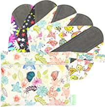Wegreeco Bamboo Reusable Sanitary Pads - Cloth Sanitary Pads - Pack of 5, 1 Cloth Mini Wet Bag Bonus (Large, Mix Prints)