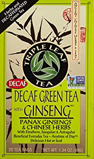 Green Tea-No Caffeine with Ginseng & Chinese Herbs Triple Leaf Tea 20 Bag