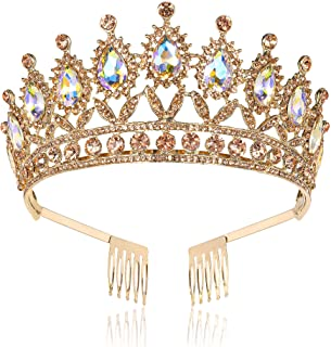 Princess Crystal Tiara Crown with Comb, Queen Rhinestone Crown, Tiaras and Crowns for Women Wedding, Headband Costume Part...