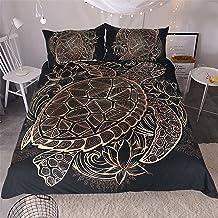 Sleepwish Gold Black Tortoise Bedding 3D Printed Golden Duvet Cover Turtle Floral Pattern Funky Duvet Cover Bedspread Quil...