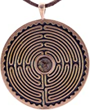 product image for Labyrinth Peace Bronze Pendant Necklace with 6mm Dinosaur Bone Fossil on Adjustable Natural Fiber Cord