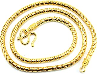 Thai Fancy Link Chain Baht Jewelry 24k Yellow Gold Plated 20