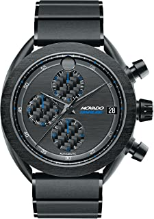 Men's Movado Parlee 0606843 Black PVD-Finished Titanium Case and Link Bracelet.
