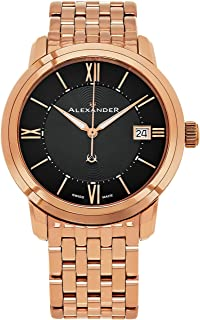 Alexander Heroic Macedon Mens Rose Gold Watch Metal Band - 40mm Analog Black Face with Second Hand Date and Sapphire Crystal - Classic Swiss Made Quartz Dress Watches for Men Gold Tone A111B-07