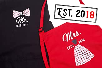 Mr Mrs Anniversary Gifts for Couple Apron & Bridal Shower Gifts - Year 2018 - Man and Women 2 Piece Set - Perfect for Engagements, Weddings, Happy Anniversaries, Bridal Showers, Valentines Day