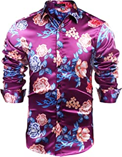 Men's Floral Button Down Shirts Long Sleeve Slim Fit Casual Satin Luxury Printed Prom Party Silk Dress Shirt