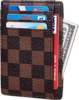 Checkered Card Holder Minimalist Front Pocket Leather Wallet for Men & Women