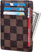 Rita Messi Checkered Card Holder Minimalist Front Pocket Leather Wallet for Men & Women