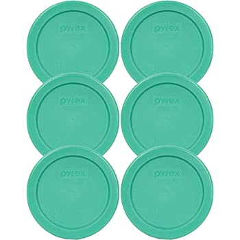 Pyrex 7202-PC 1 Cup Green Round Plastic Replacement Lid - 6 Pack