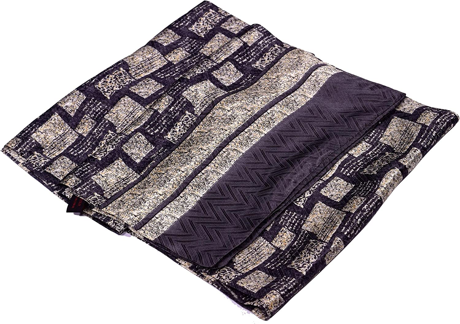 Grey Ecru Abstract Square Printed Double Layer Long Pure Silk Scarf