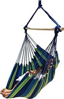 Large Brazilian Hammock Chair by Hammock Sky - Cotton Weave - Extra Long Bed - Hanging Chair for Yard, Bedroom, Porch, Indoor/Outdoor (Blue & Green)