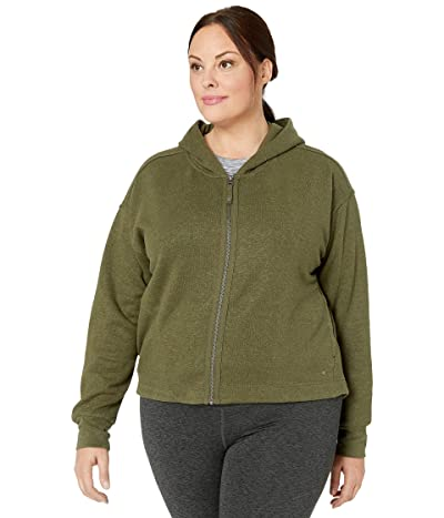 Prana Plus Size Cozy Up Zip-Up Jacket (Cargo Green Heather) Women