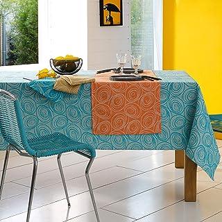 Lot de 3 serviettes de table 45x45 cm Jacquard 100% coton SPIRALE bleu turquoise
