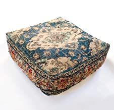 Mandala Life ART Bohemian Yoga Decor Pouf Ottoman - Stuffed - Round Meditation Pillow - Hand Printed Organic Cotton Floor Cushion