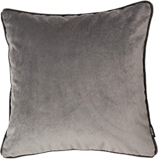 McAlister Textiles Matt Velvet | Pillow Cover Case in Soft Silver | Square 18x18 Inches | Lush & Plush Luxury Throw Cushion Sham Piping Modern Decor for Sofa Couch