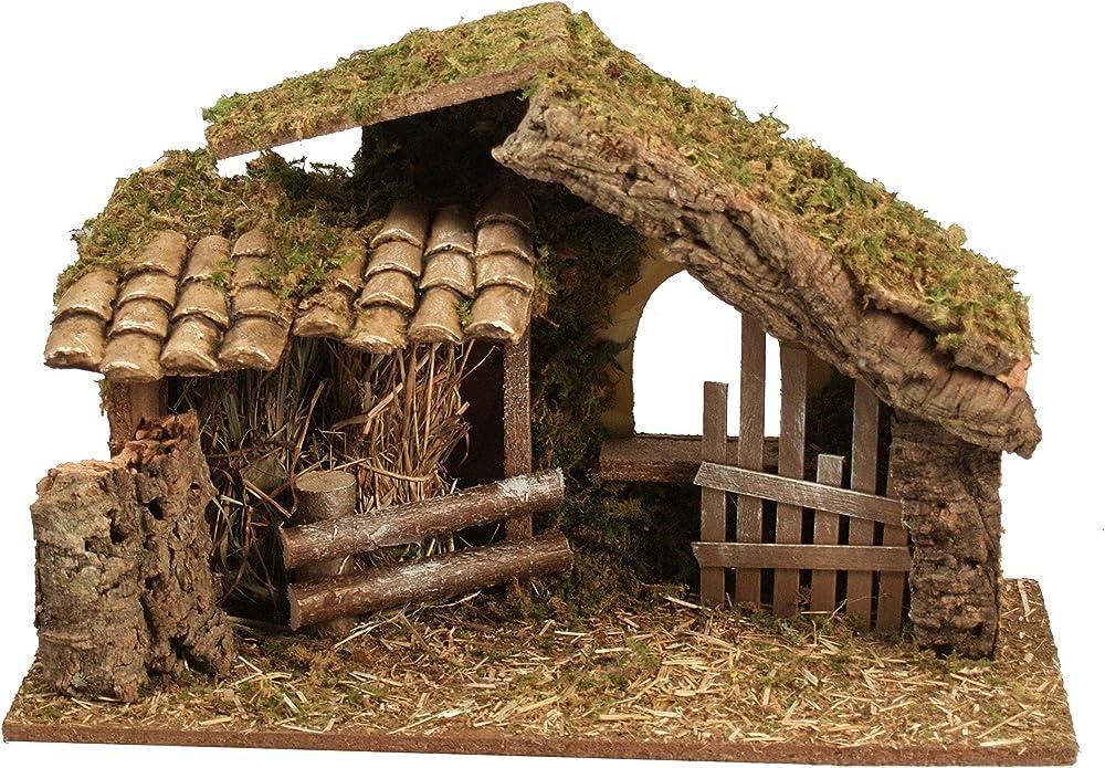 Ferrari & arrighetti capanna in legno con recinto, in legno,paesaggio del presepe Bertoni_30004