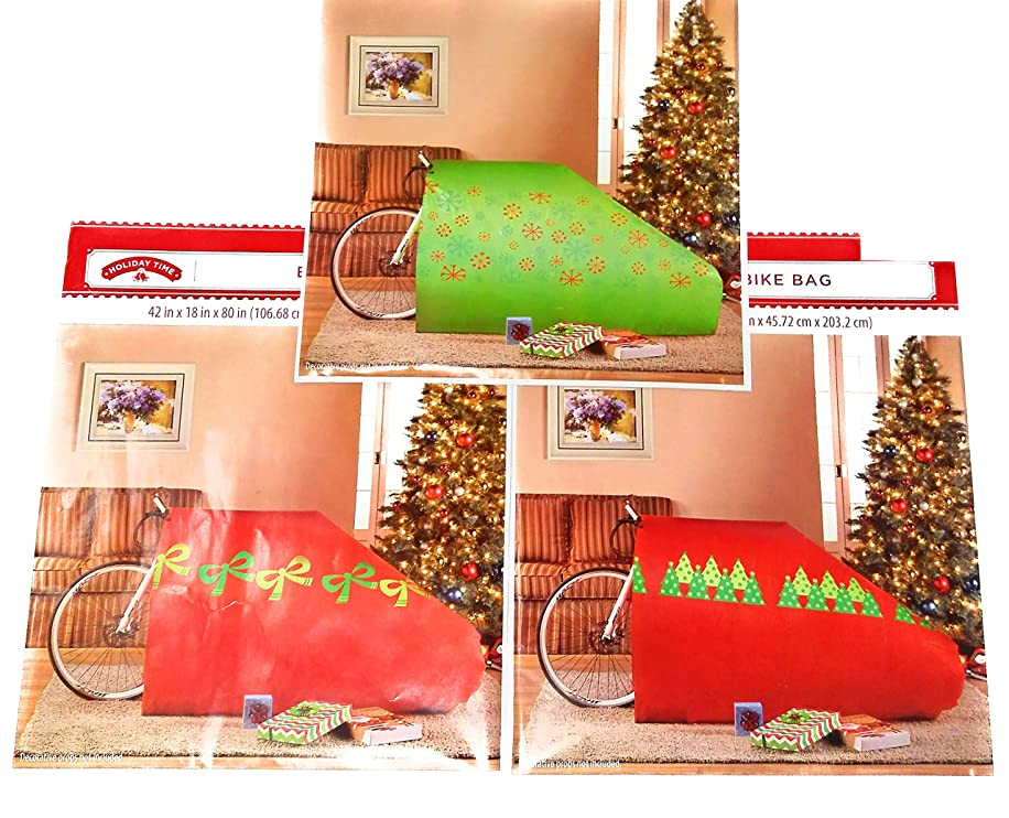(Pack of 3) Giant Christmas Gift Bags for Bicycle - Holiday Wrapping Heavy Duty Extra Large Jumbo Huge Oversized Santa Bag for Big Presents Toys or Bikes Up to 26