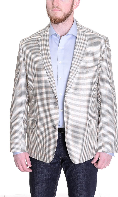 Tallia Orange Trim Fit Tan Grey Plaid Two Button Wool Silk Blend Blazer Sportcoat