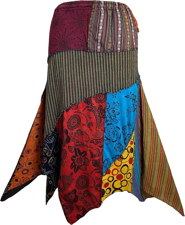 Agan Traders Women's Gypsy Tribal Boho Cotton Asymmetrical Patch Skirt