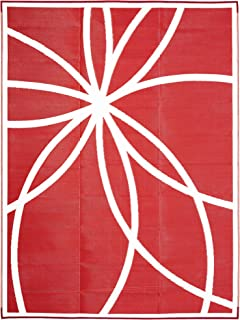 iCustomRug Inverso Outdoor Rug Collection, Reversible Plastic Area Rug 9' x 12' Water Resistant for Patio, Balcony or Beach in Coral/Red and White