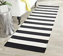 "Safavieh Montauk Collection MTK712D Handmade Flatweave Black and Ivory Cotton Runner (2'3"" x 8')"