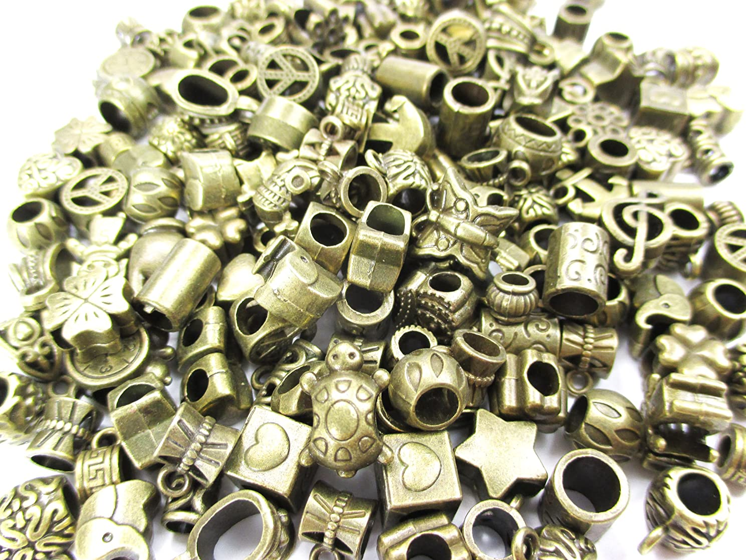 All In One 50gram Assorted Antique Bronze Large Hole Beads Charms Findings for Jewelry Making Bracelet Necklace Pendant