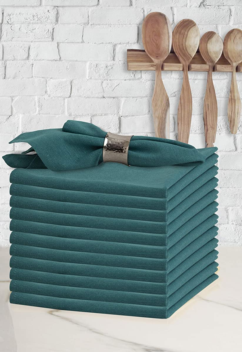 Glamburg Cocktail Napkins in Cotton Solid Color Fabric18X18 Teal,Wedding Napkins,100% Cotton Cloth Napkins,Dinner Napkins,Cloth Napkins,Fabric Napkins,Cloth Napkins Set of 12,Machine Washable