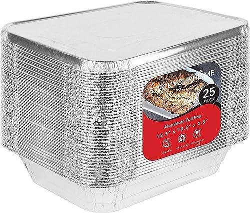 Foil Pans with Lids - 9x13 Aluminum Pans with Covers - 25 Foil Pans and 25 Foil Lids - Disposable Food Containers Gre...