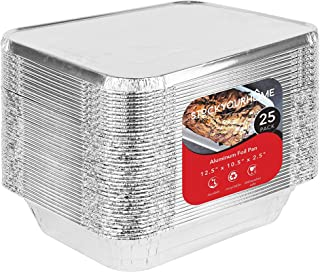 Foil Pans with Lids - 9x13 Aluminum Pans with Covers - 25 Foil Pans and 25 Foil Lids - Disposable Food Containers Great fo...