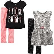 Toddler Girls' 4-Piece Short-Sleeve Dress, Top, and Pants Playwear Set