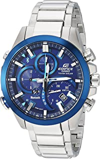 Men's Edifice Solar Connected Quartz Watch with Stainless-Steel Strap, Silver, 14 (Model: EQB-501DB-2ACF)