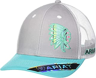 ARIAT Women's Offset Chief Mesh Snap Back Cap, Turquoise, One Size