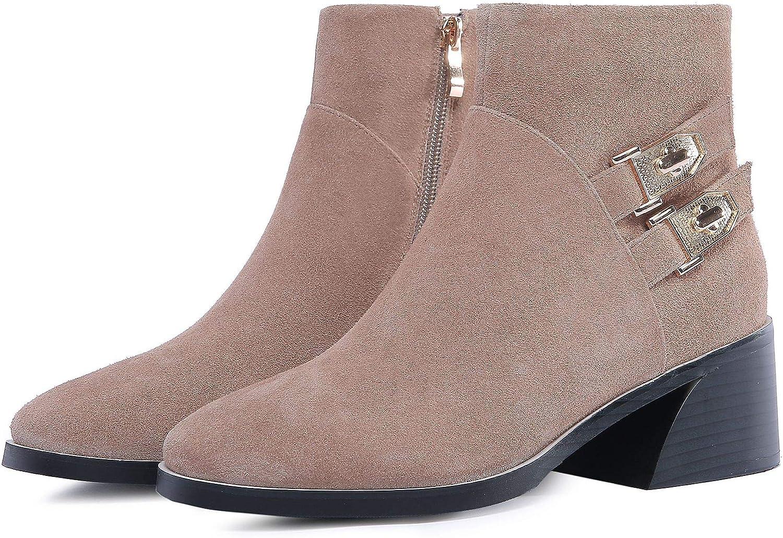 Frauen Spitz Spitz Spitz Block Heels High Short Ankle Stiefel  be0fbd