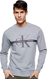 Calvin Klein Men's TAPING THROUGH MONOGRAM CN Sweatshirt