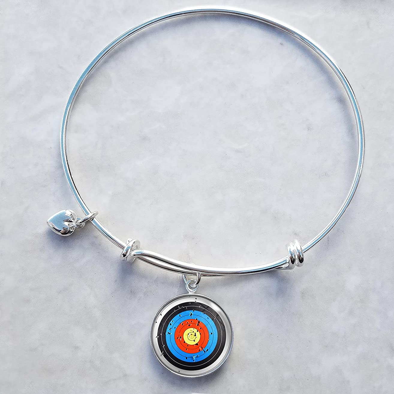 Archery Target Sterling Silver Expandable Wire Bangle Charm Bracelet